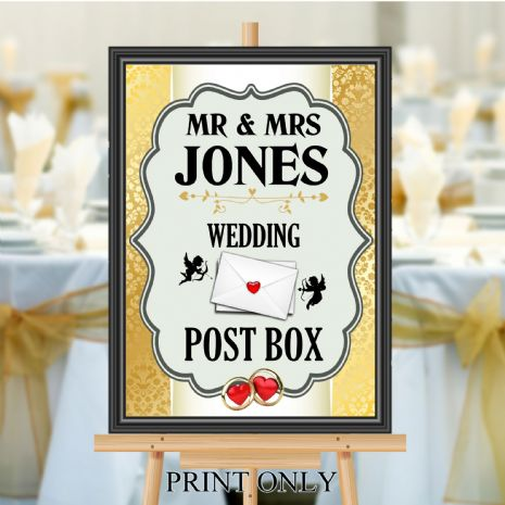 Personalised Wedding Money & Cards Post Box Sign Poster Banner - Print N192